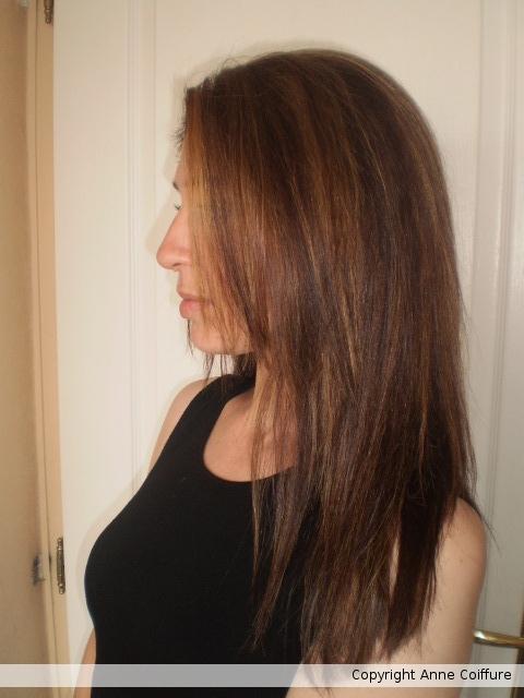 Couleur chocolat m ches claires coupe et lissage - Couleur chocolat meche blonde ...