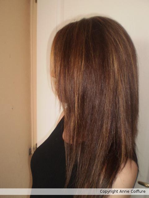 Couleur chocolat m ches claires coupe et lissage - Tarif couleur meche coupe brushing ...
